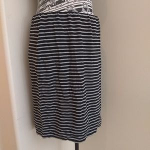 Philosophy black & grey striped jersey midi skirt